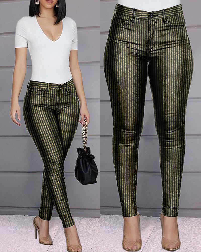 Glitter Striped Zipper Front Pants фото