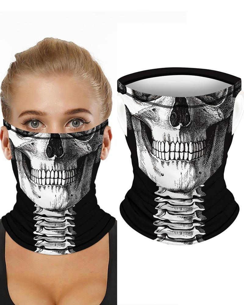 Skull Print Breathable Ear Loop Face Bandana Headwrap фото