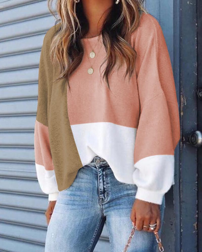 Colorblock Buttoned Design Casual Sweatshirt фото