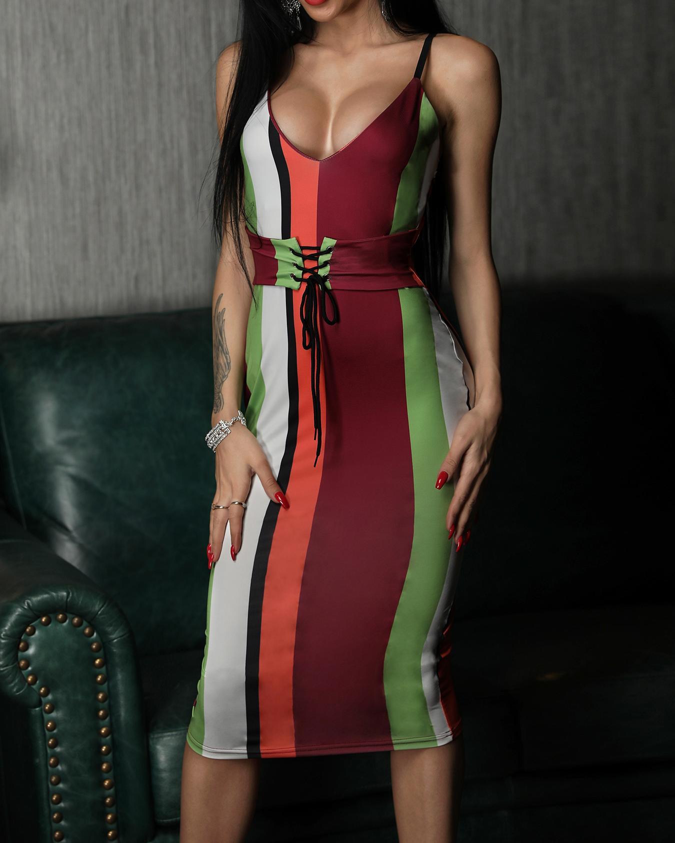 Colorful Striped Tie Waist Slip Party Dress