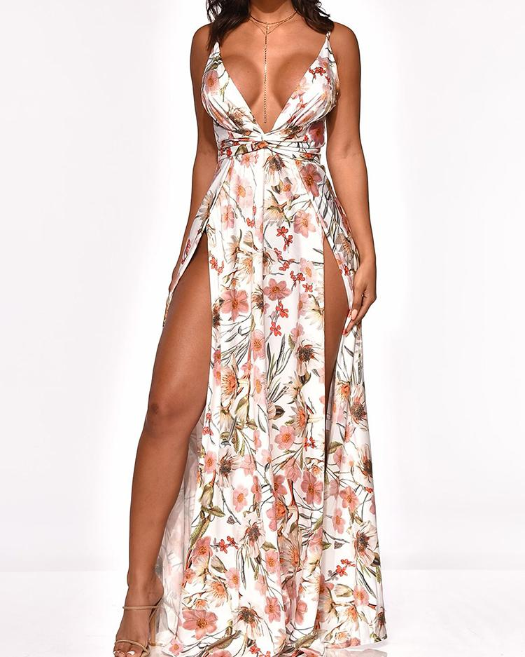 chicme / Floral Print Thigh Slit Maxi Dress