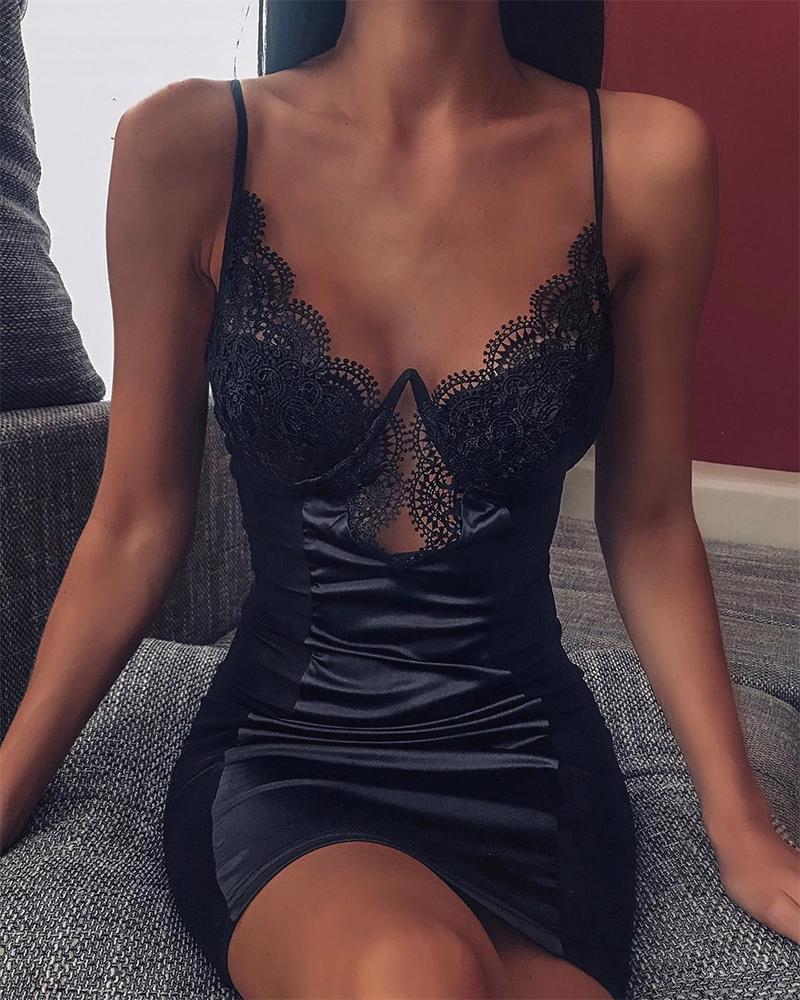 Spaghetti Strap Lace Slip Dress фото
