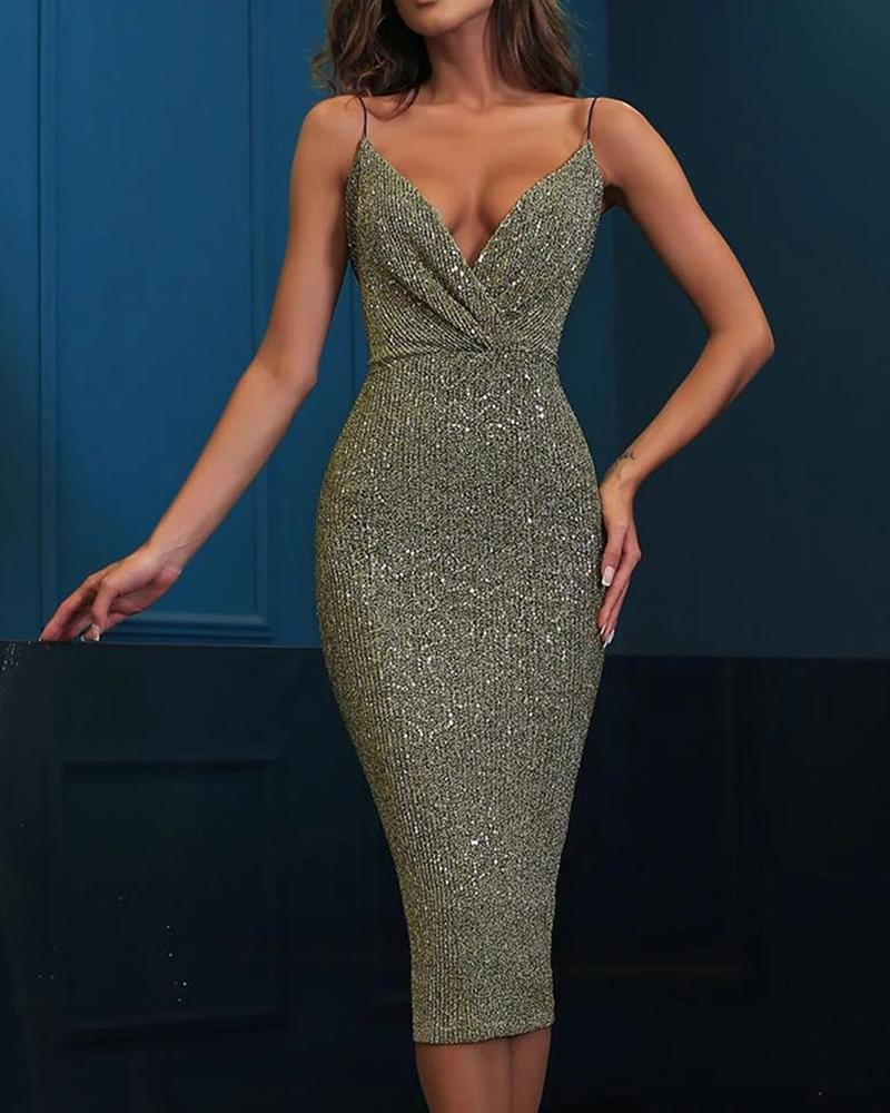 Glitter Spaghetti Strap Sequins Bodycon Dress, ivrose, green  - buy with discount