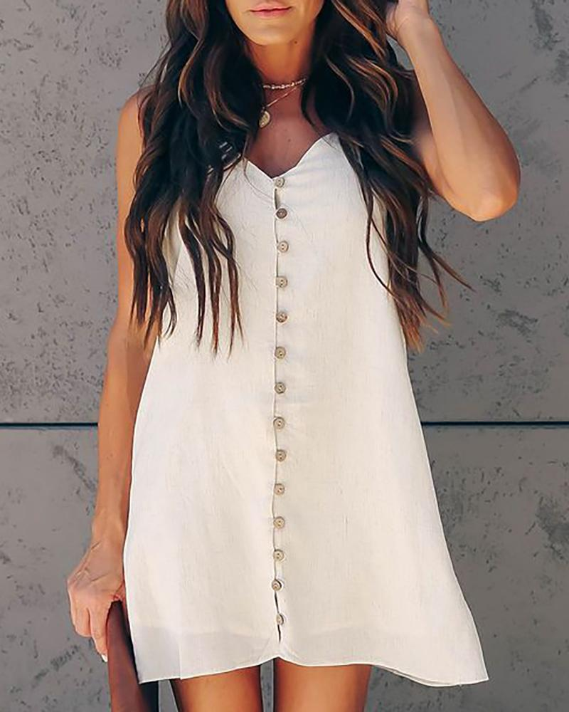 Tied Spaghetti Strap Buttoned Dress