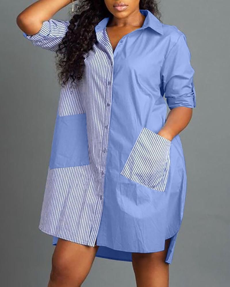 Striped Insert Pocket Shirt Dress фото