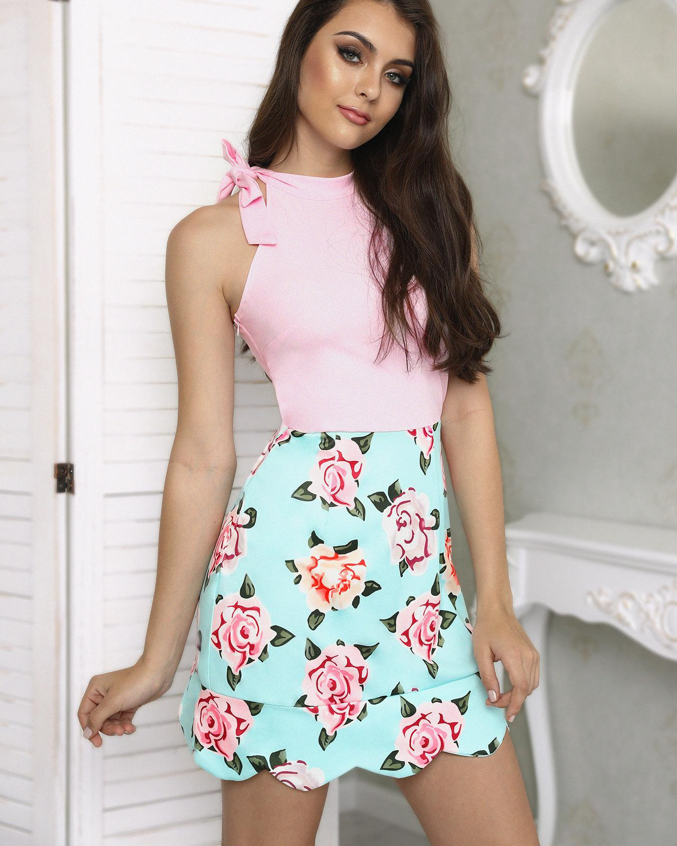 Floral Print Splicing Tied Wave Hem Mini Dress фото