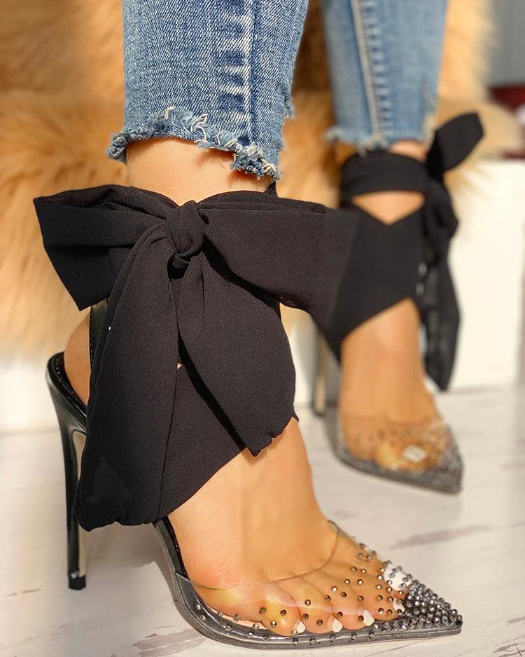 Beaded Transparent Bowknot Embellished Thin Heels