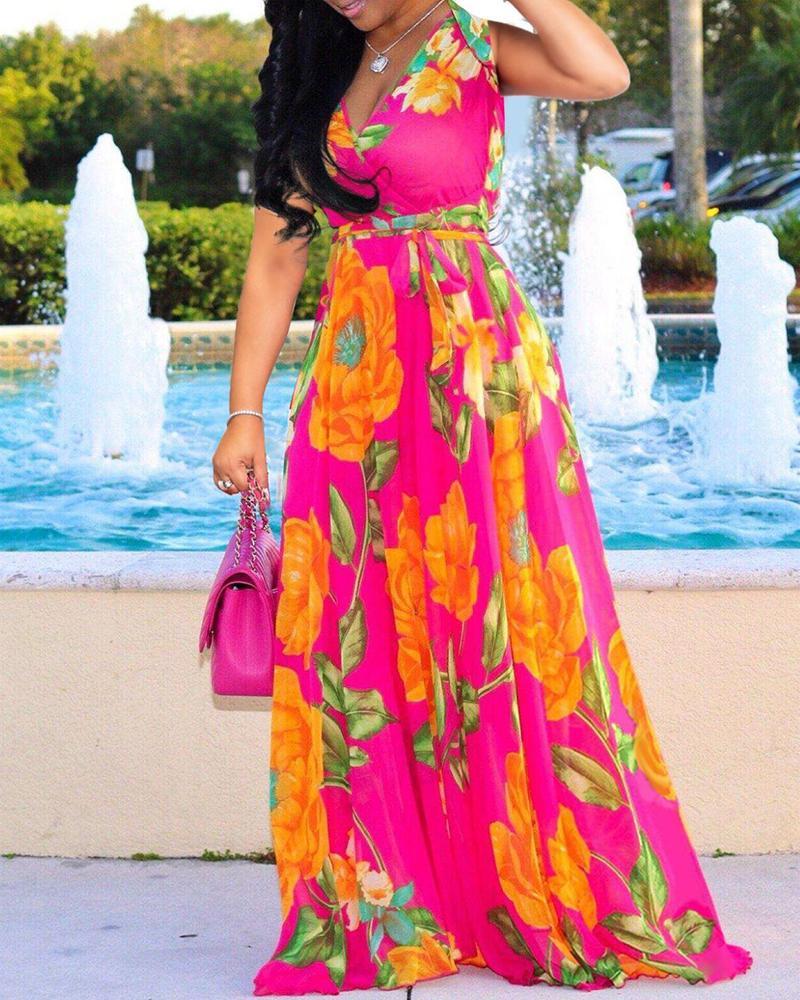 Deep V-neck Floral Printed Maxi Chiffon Dress фото