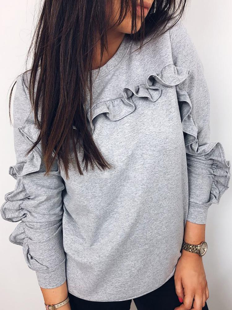 Solid Frills Long Sleeve Pullover Sweatshirt