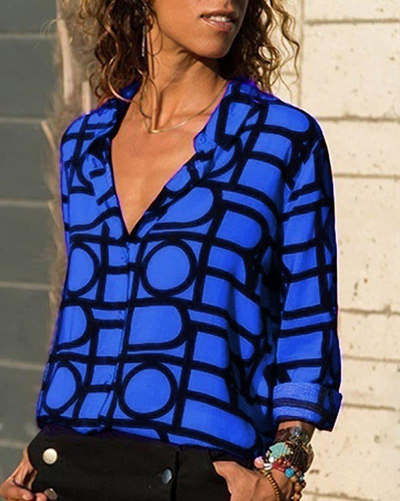 V Neck Button Up Geo Printed Shirt, Blue