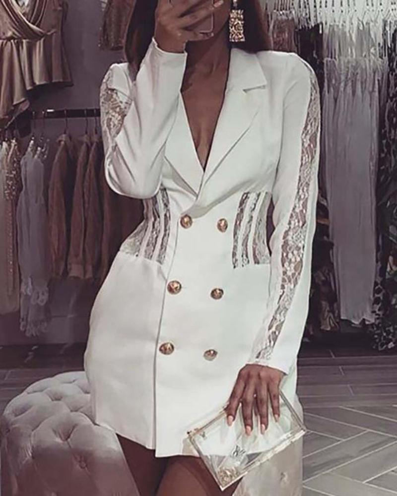 boutiquefeel / Vestido blazer de crochê com botão de renda