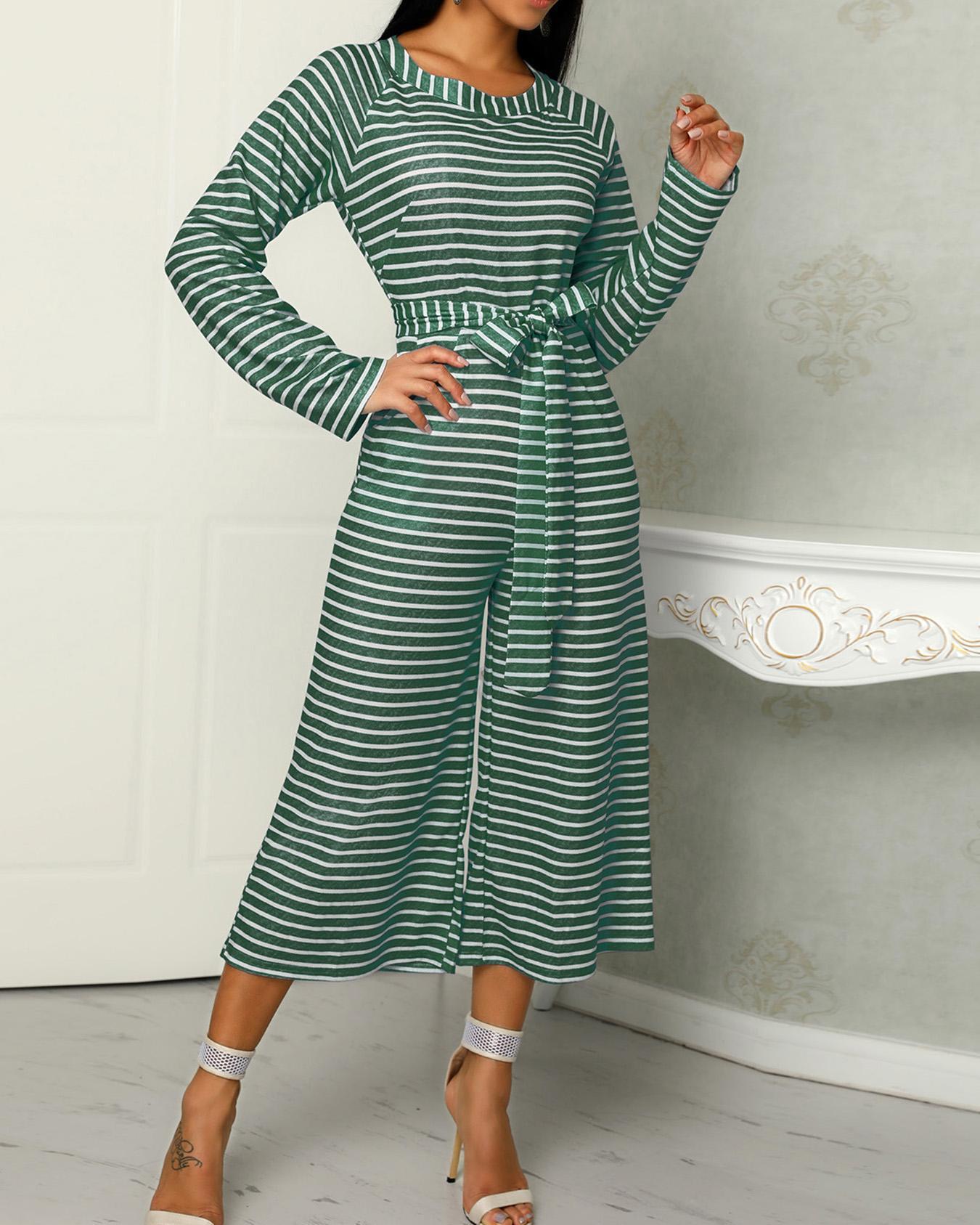 Striped Long Sleeve Tied Waist Pocket Jumpsuits фото