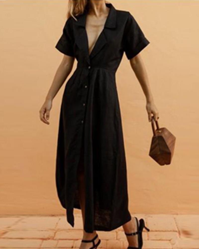 joyshoetique / V-Neck Solid Lapel Short Sleeve Maxi Dress
