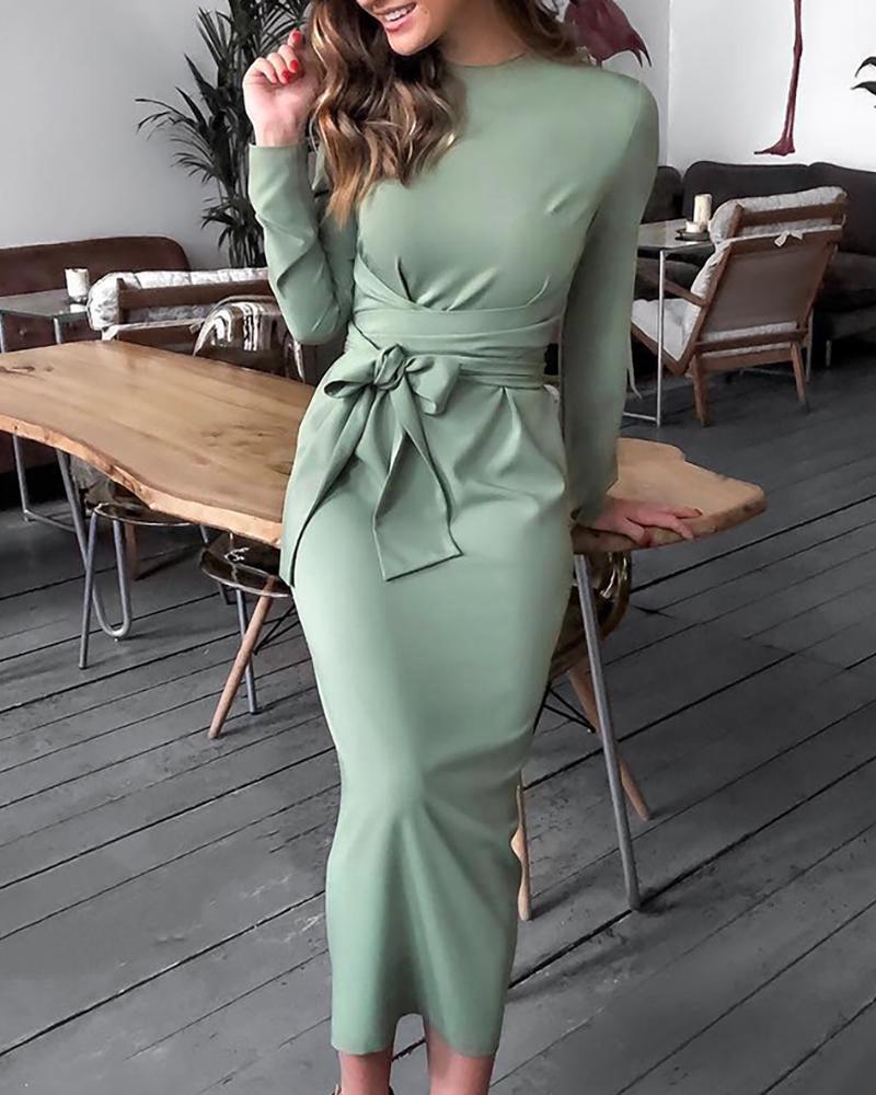 chicme / Long Sleeve Bandage Design Slinky Dress