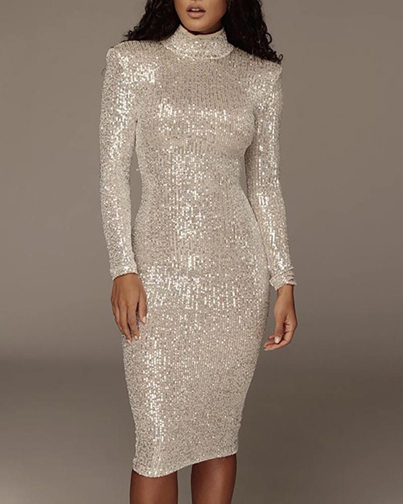 ivrose / Mock Neck Long Sleeve Sequin Dress