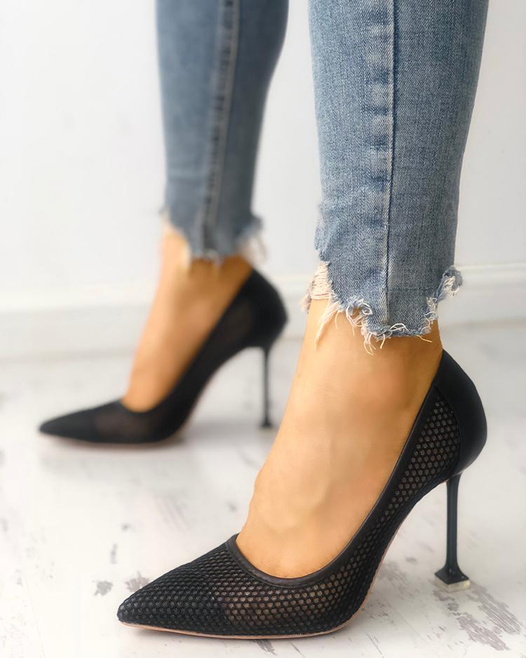 Fishnet Splicing Pointed Toe Thin Heeled Sandals