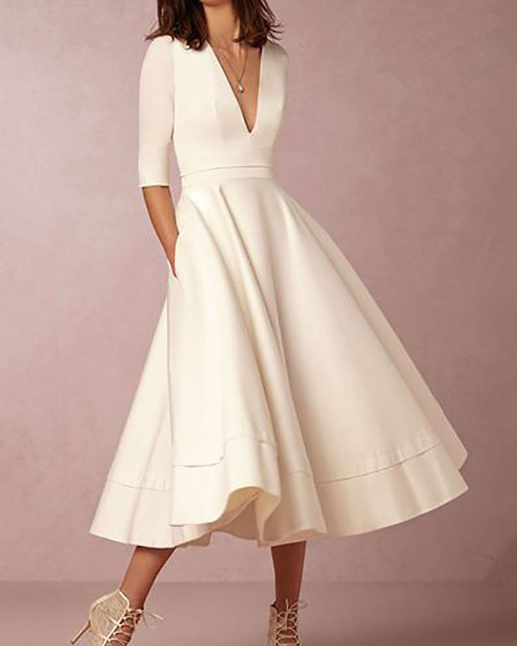 New Style Pleated Deep V Neck High Waist Maxi Dress