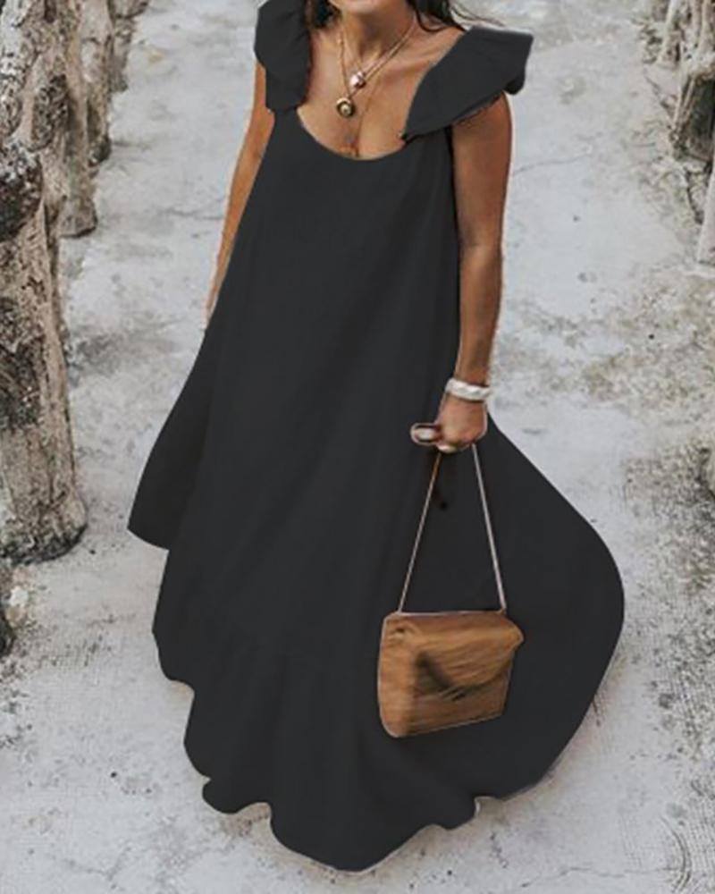 Ruffles Ruched Casual Maxi Dress фото