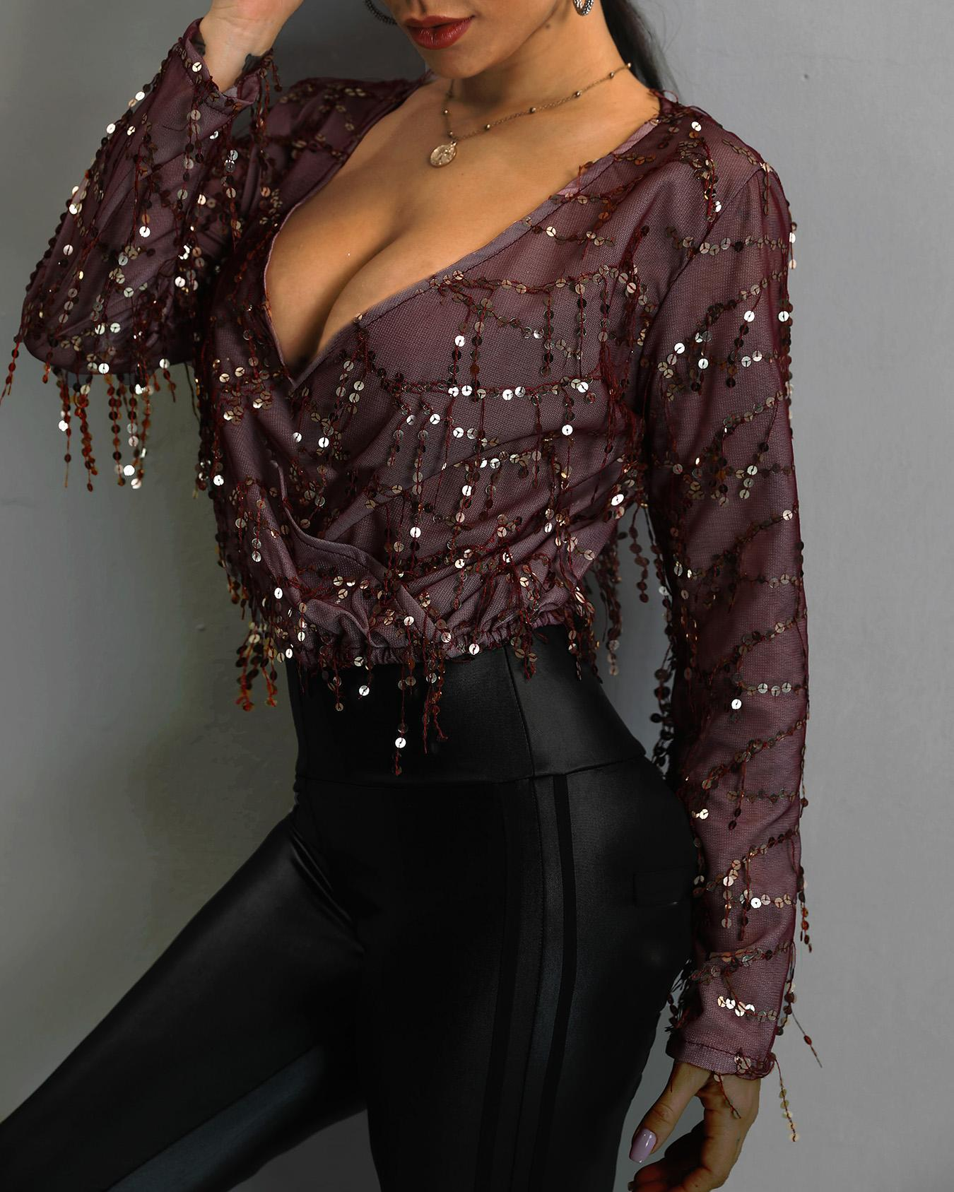 V-Neck Wrap Sequin Tassel Blouse