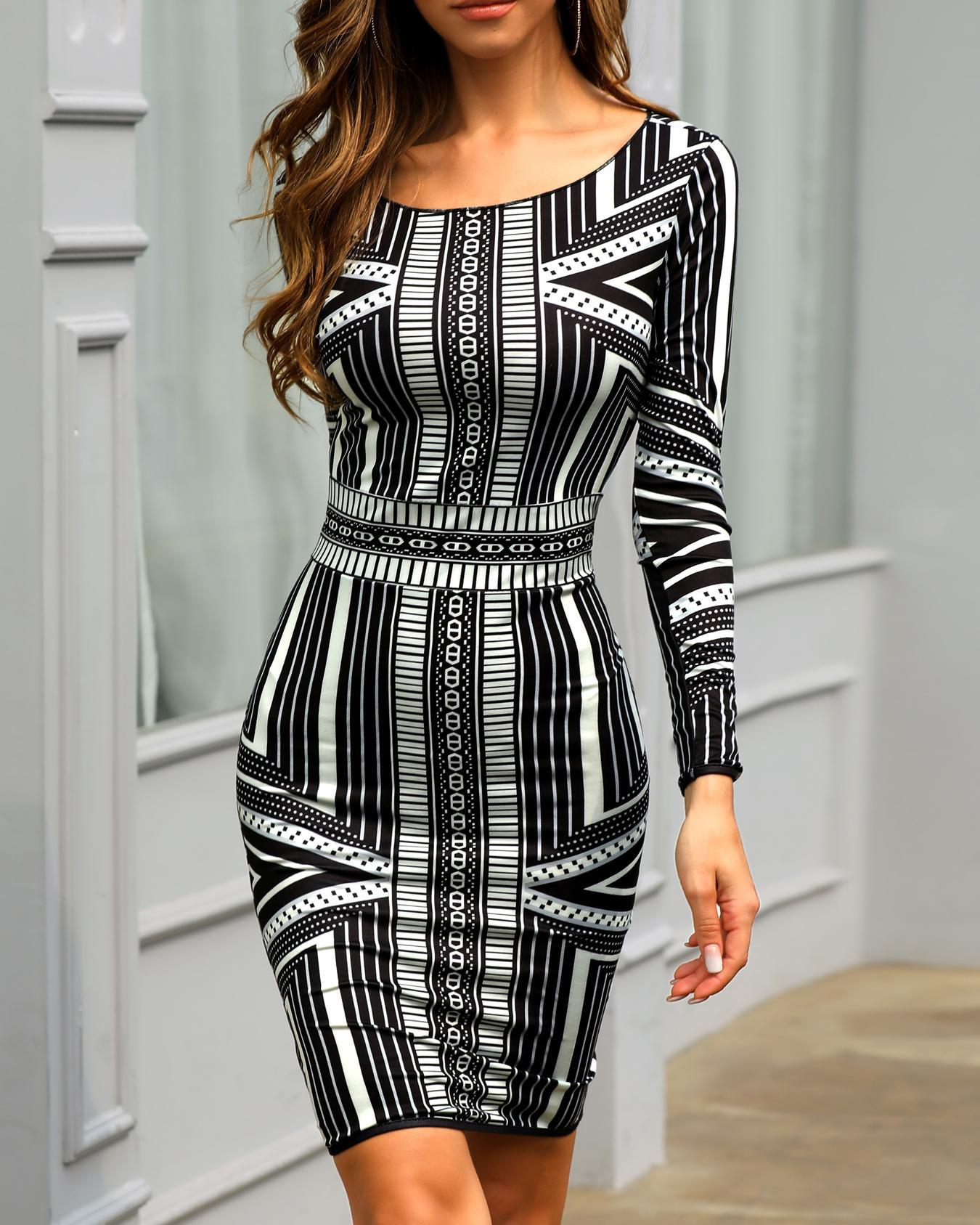 chicme / Long Sleeve Print Bodycon Dress