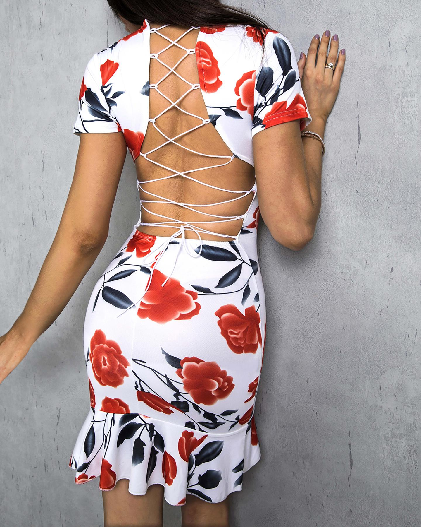 Floral Print Lace-Up Back Bodycon Dress фото