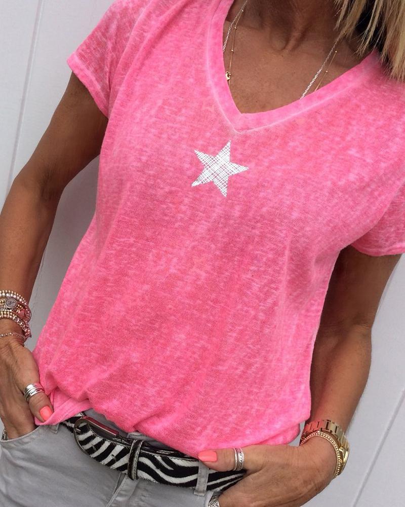 Star Print V-neck Casual T-shirt фото