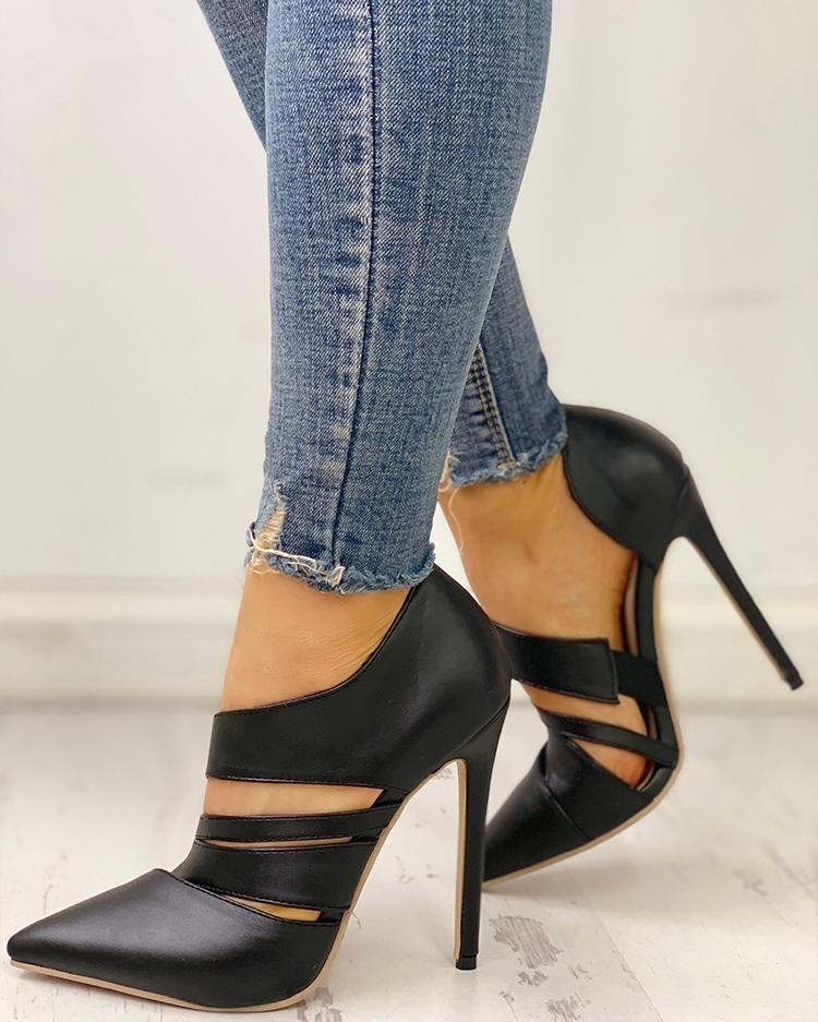 ivrose / Pointed Toe Cut Out Thin Heels