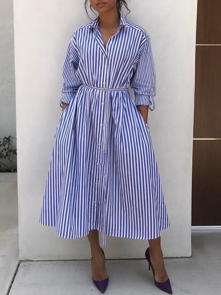 Stripes Long Sleeve Tie Waist Shirt Dress