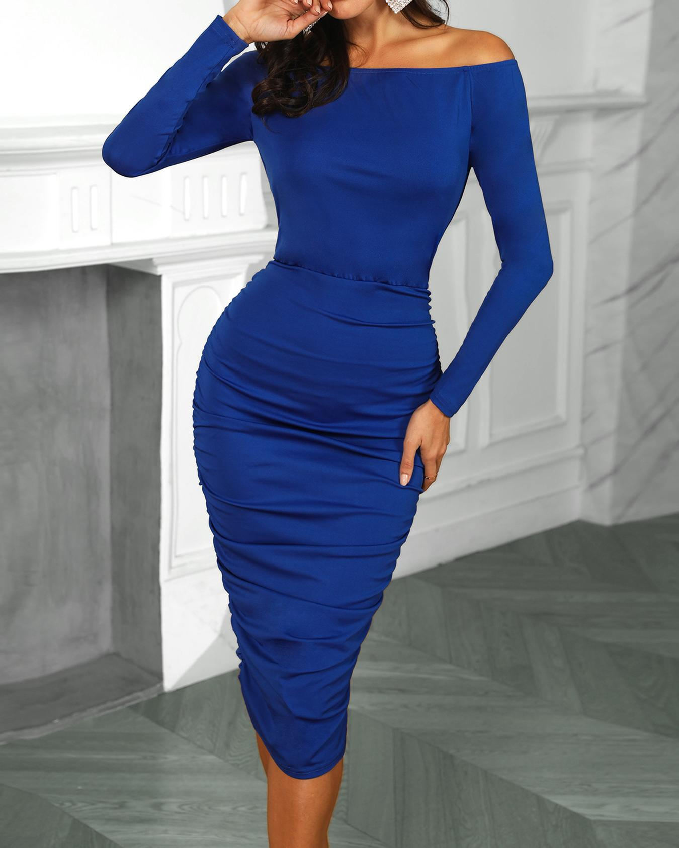 Off Shoulder Ruched Detail Bodycon Dress