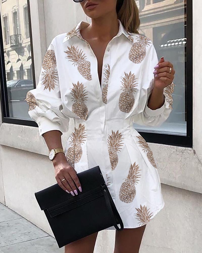 boutiquefeel / Abacaxi Imprimir camisa apertada cintura vestido