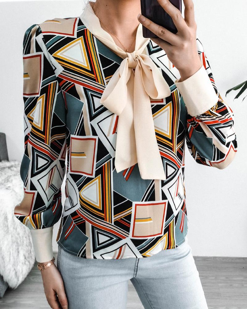 Geometry Print Colorblock Tied Neck Top фото