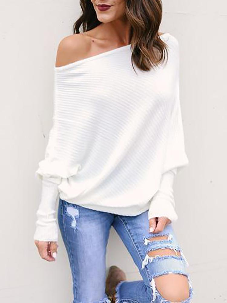 White Skew Neck Batwing Sleeve Casual Blouse joyshoetique