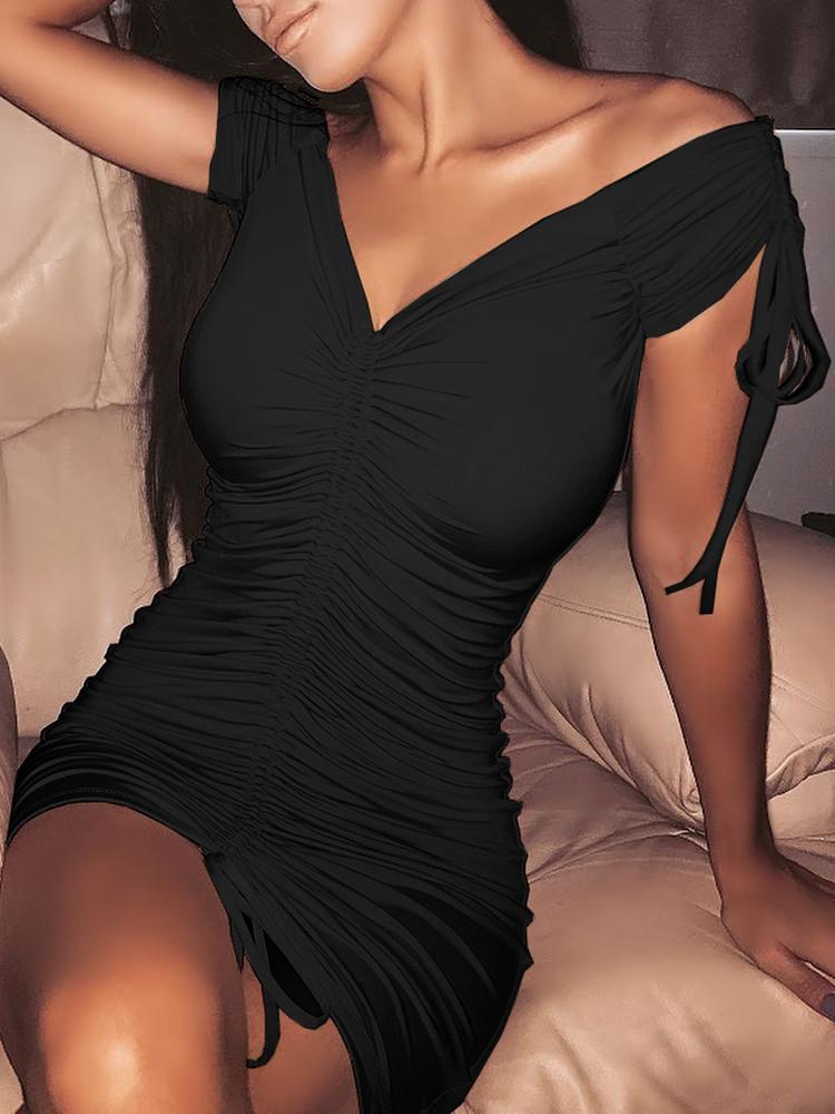 ivrose / Mini vestido con hombros descubiertos y lazo fruncido