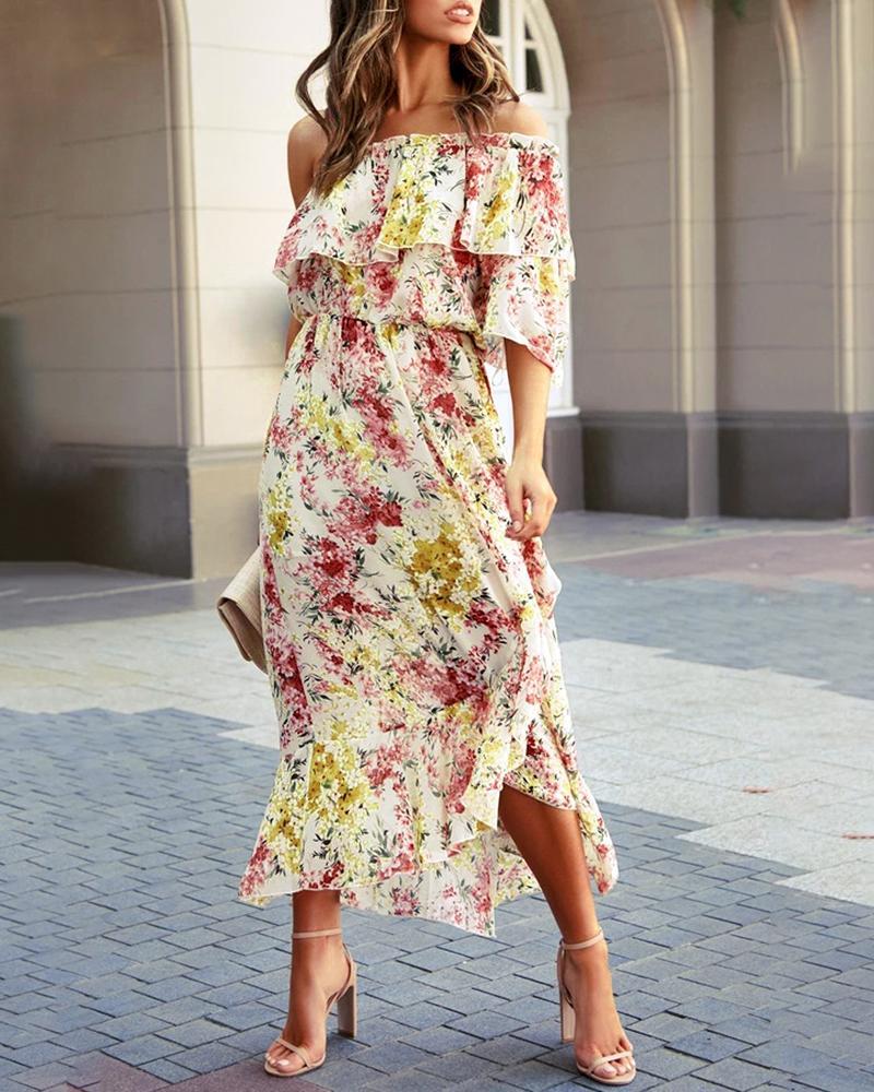 ivrose / Floral Print Off Shoulder Frill Hem Ruffles Dress