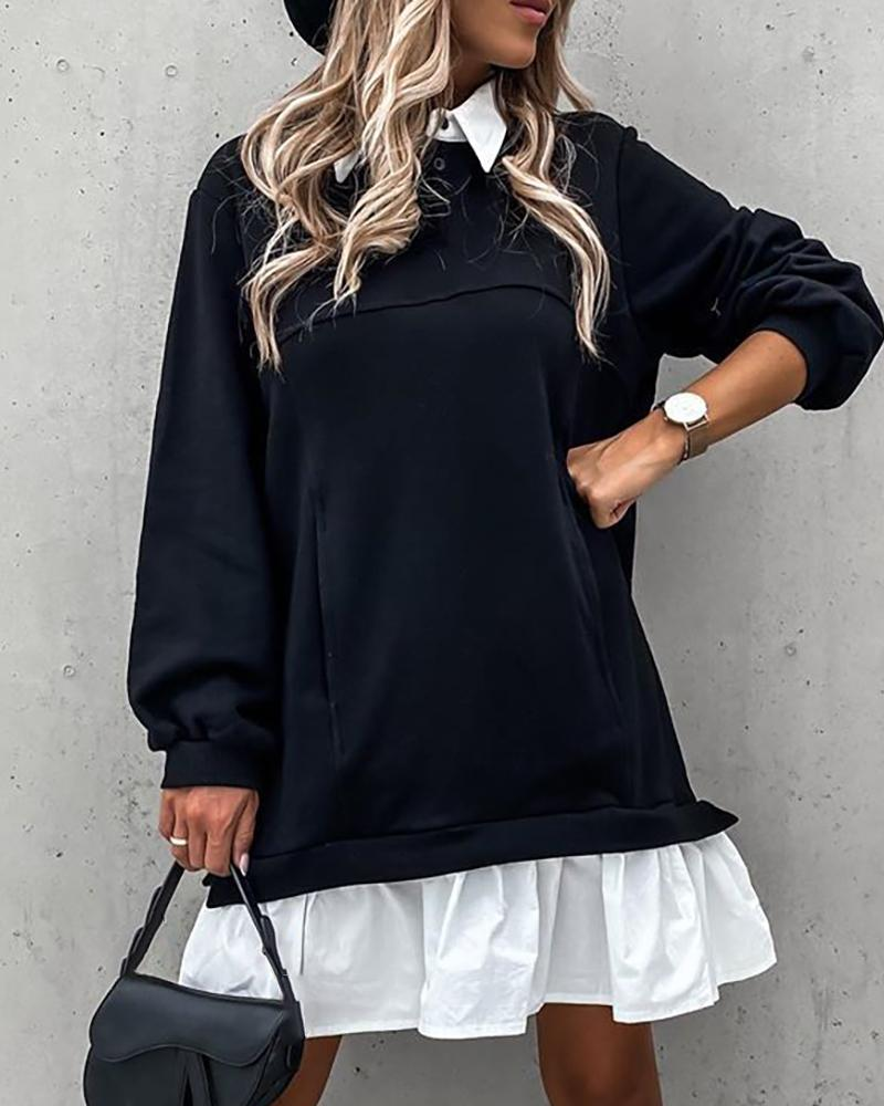 Colorblock Ruched Long Sleeve Casual Dress фото