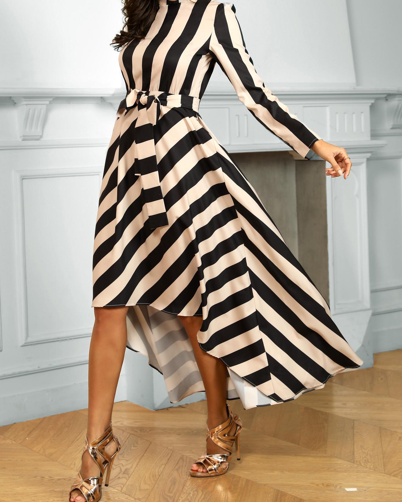 Striped Long Sleeve Irregular Dress, Apricot