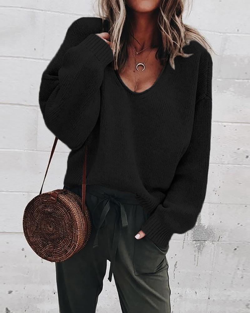 Solid Long Sleeve V-Neck Casual Sweater фото