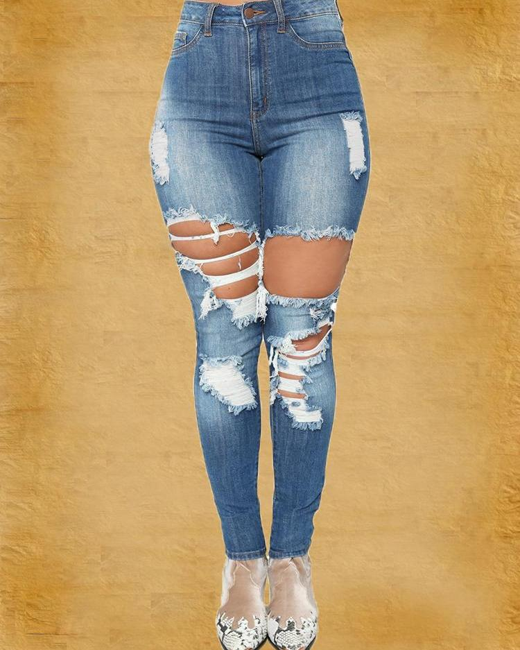 chicme / Cutout Fringes Distressed Pencil Jeans
