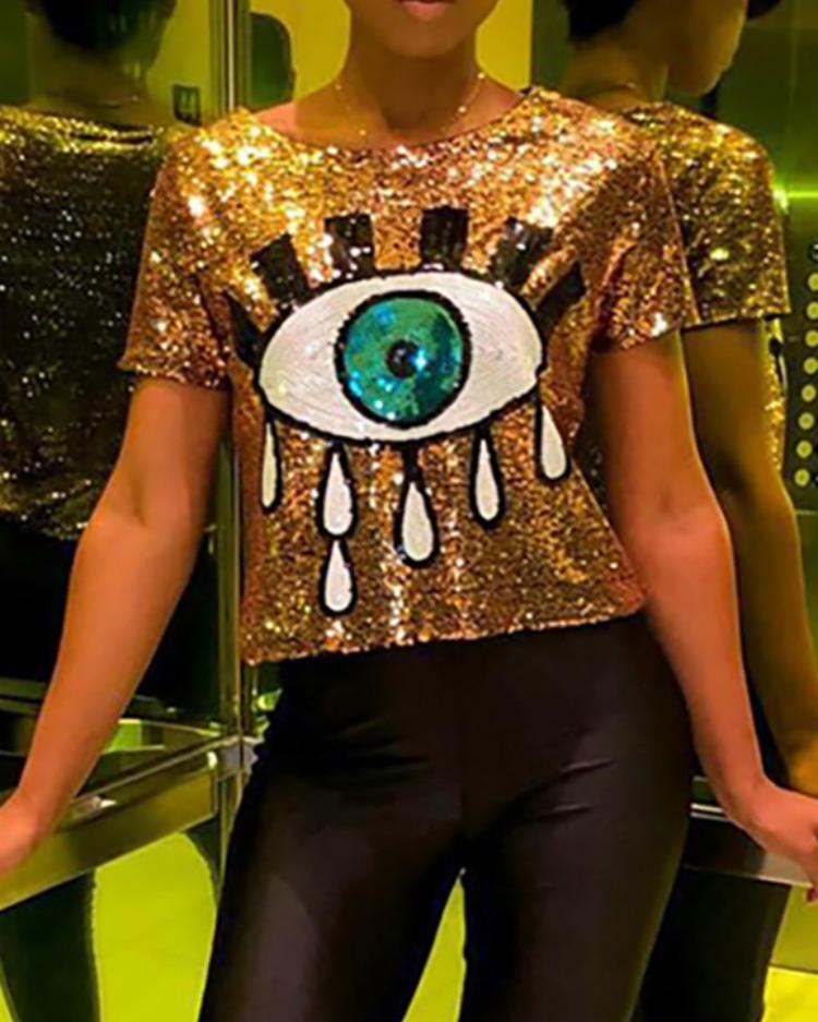 Contrast Eye Sequin Short Sleeve T-Shirt фото