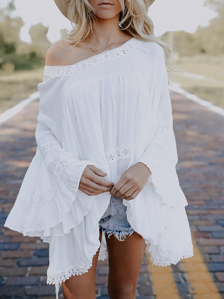 Boho Lace Patchwork Flare Sleeve Dip Hem Pleated Mini Dress
