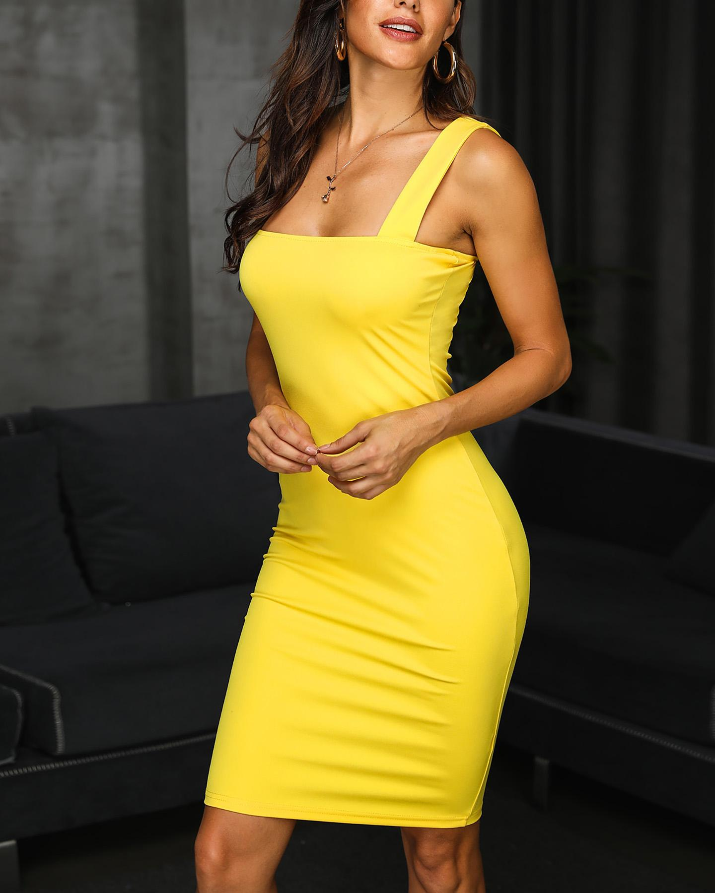 Solid Thin Strap Bodycon Dress