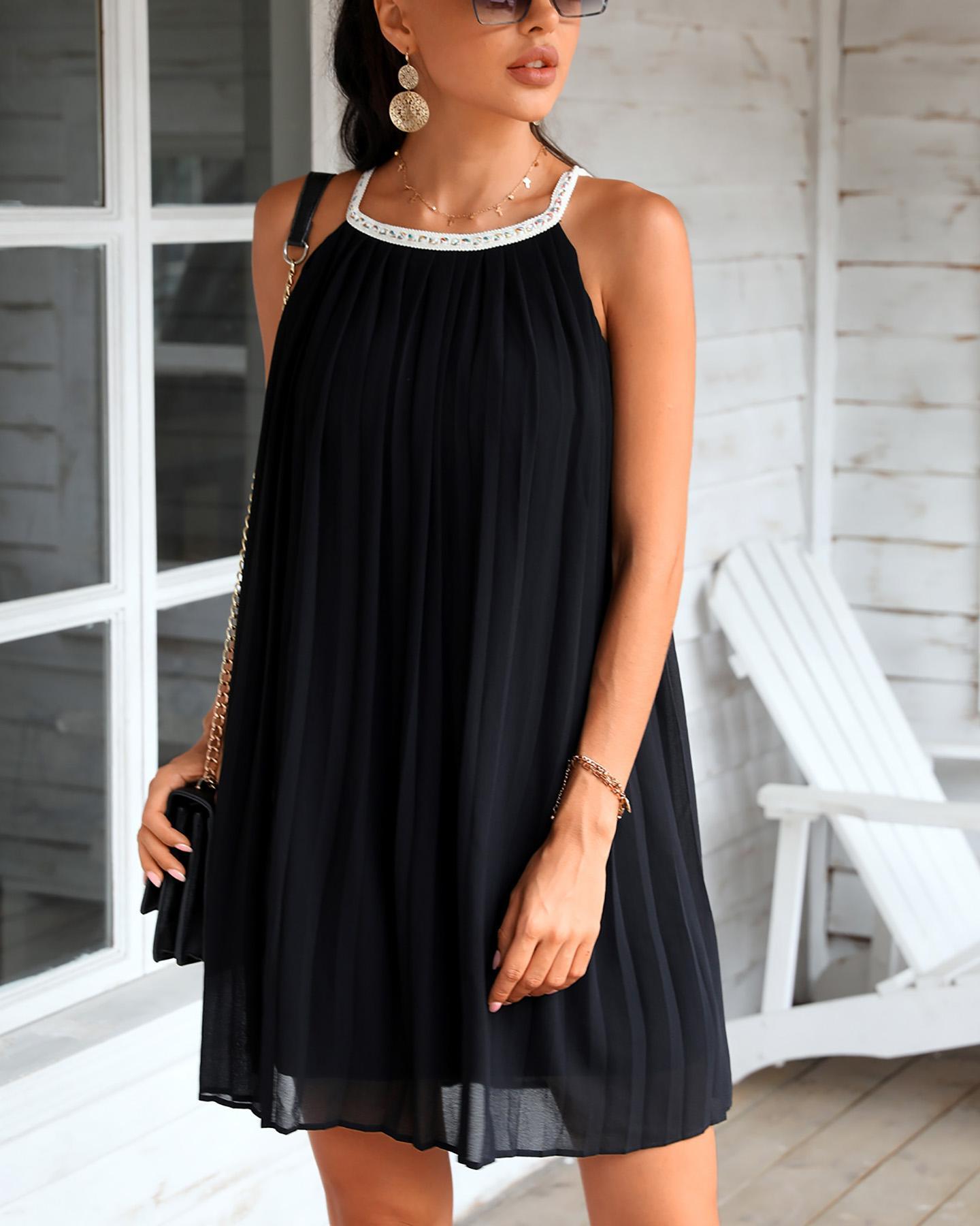 Ruched Sleeveless Mini Pleated Dress фото