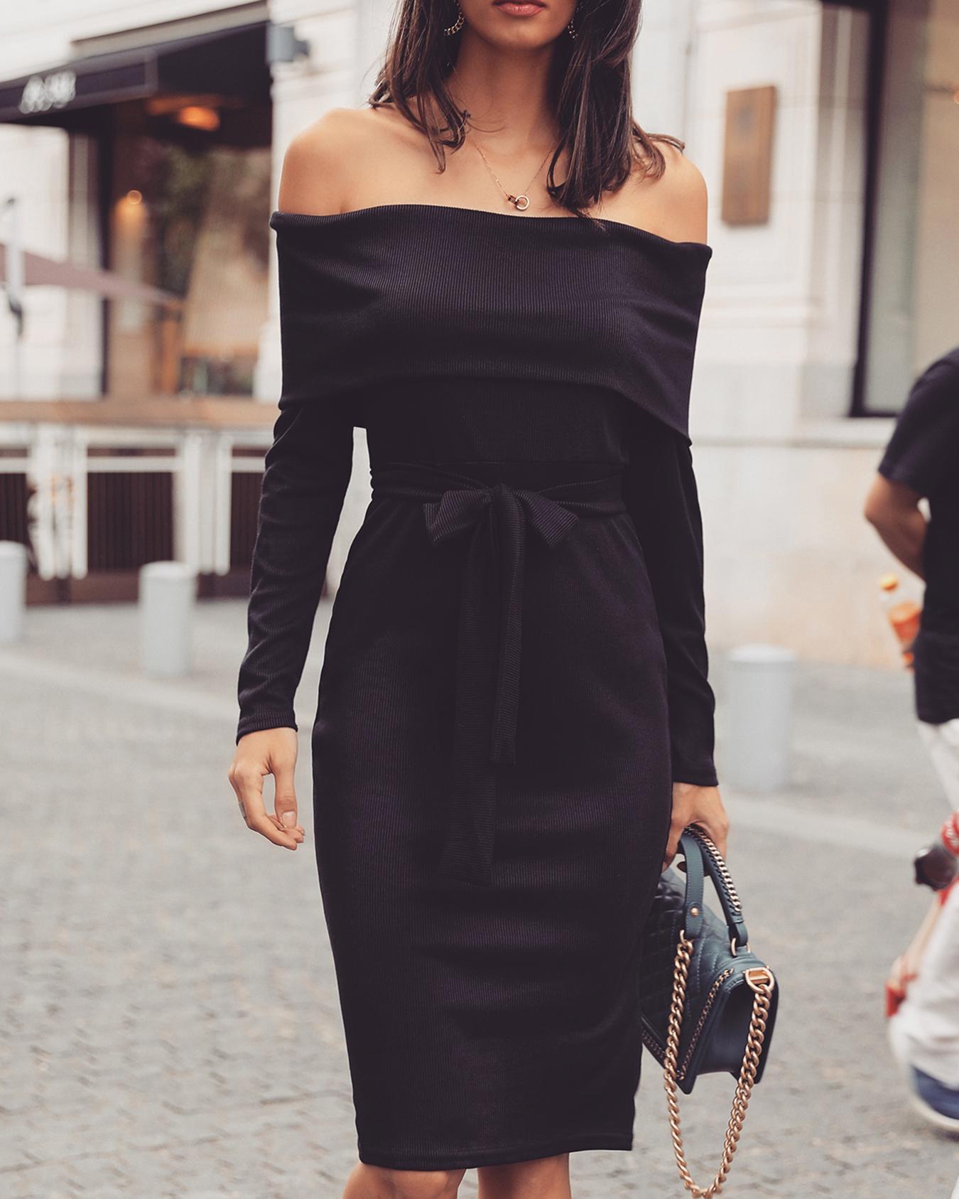 Fold Over Off Shoulder Tied Waist Dress