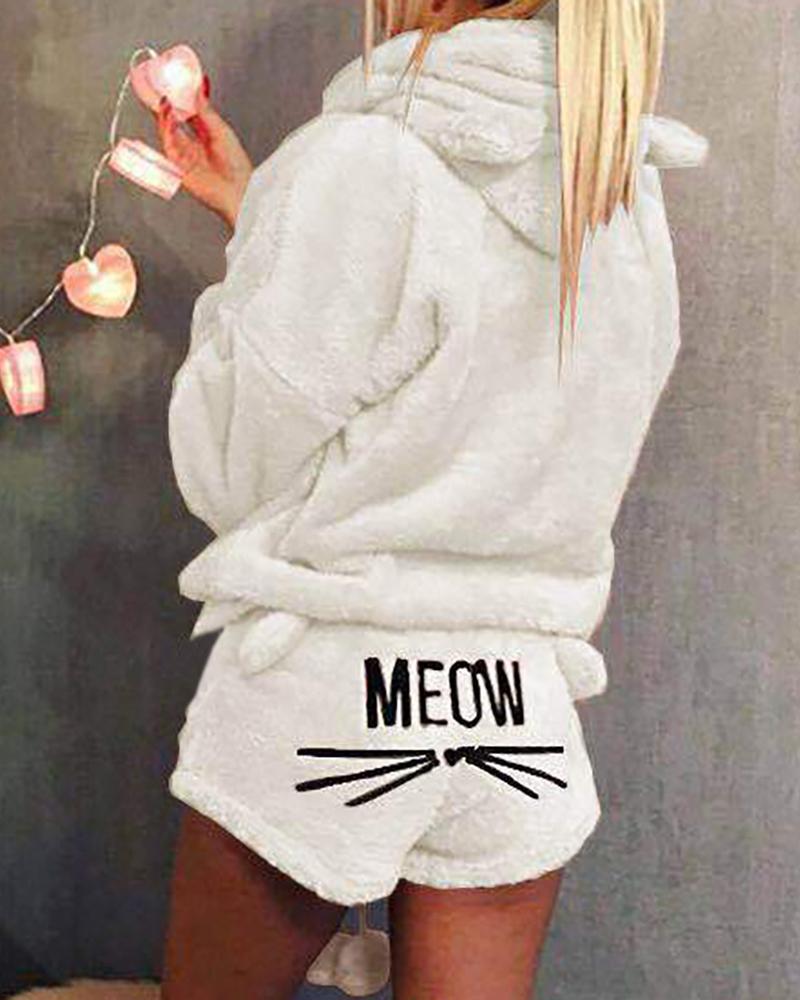 Fluffy Hooded Coat & Short Sets фото