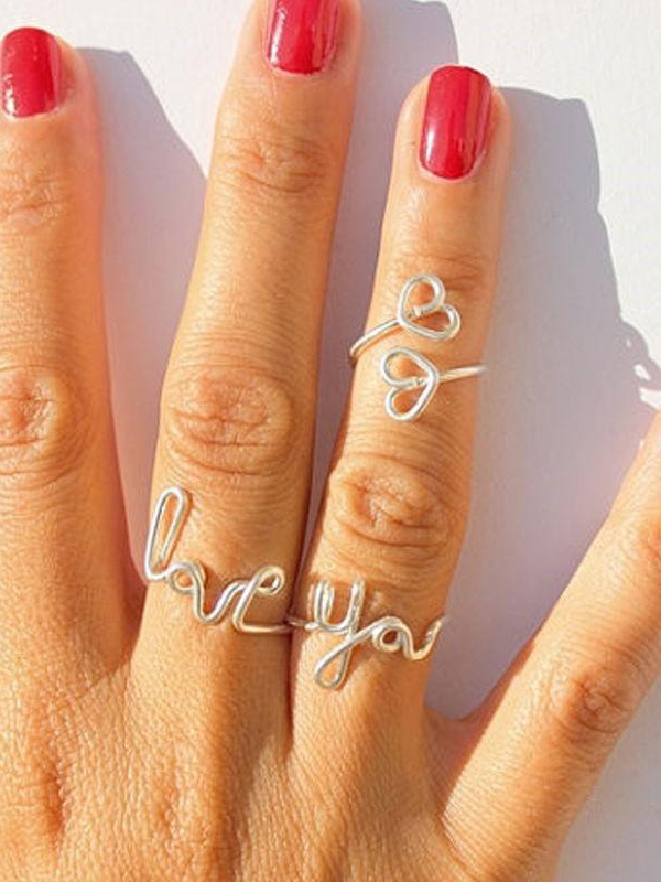 2015 NEW 1 Set of 3pcs Silver Love You Heart Charm Knuckle Midi Wire Finger Toe Rings Hot _ RP