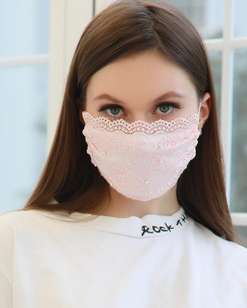 Lace Pearl Dust-proof Face Mask фото