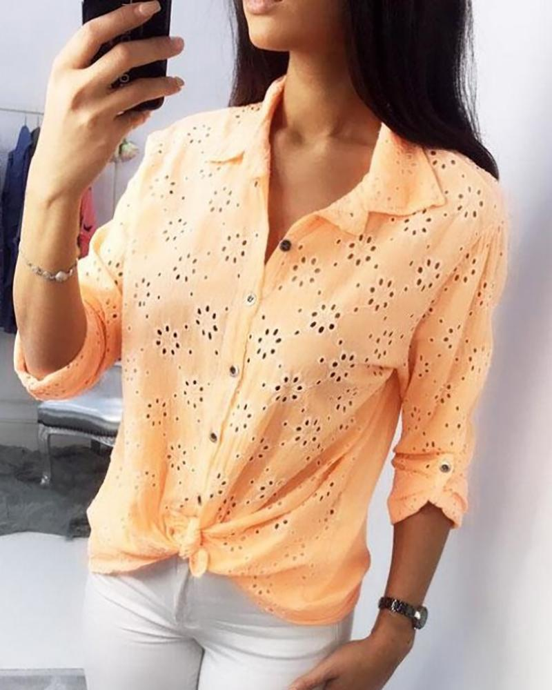 Broderie Anglaise Lace Hollow Out Shirt