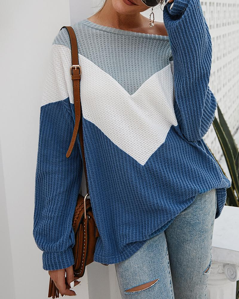 Colorblock Long Sleeve Casual Sweater, Blue