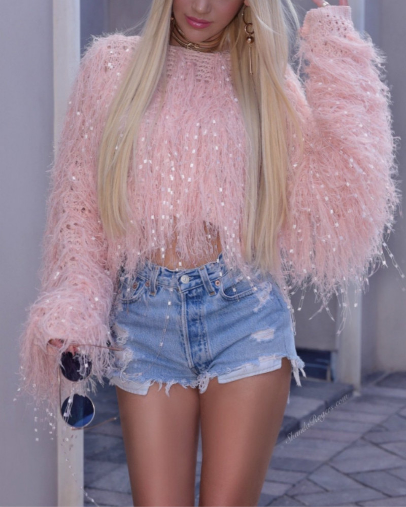 Solid Round Neck Fringed Fluffy Crop Sweater, Pink