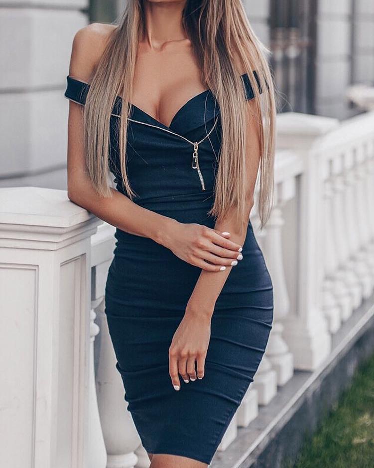 Zip Detail Off Shoulder Bodycon Dress
